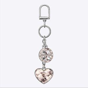 Tory Burch logo & heart key fob